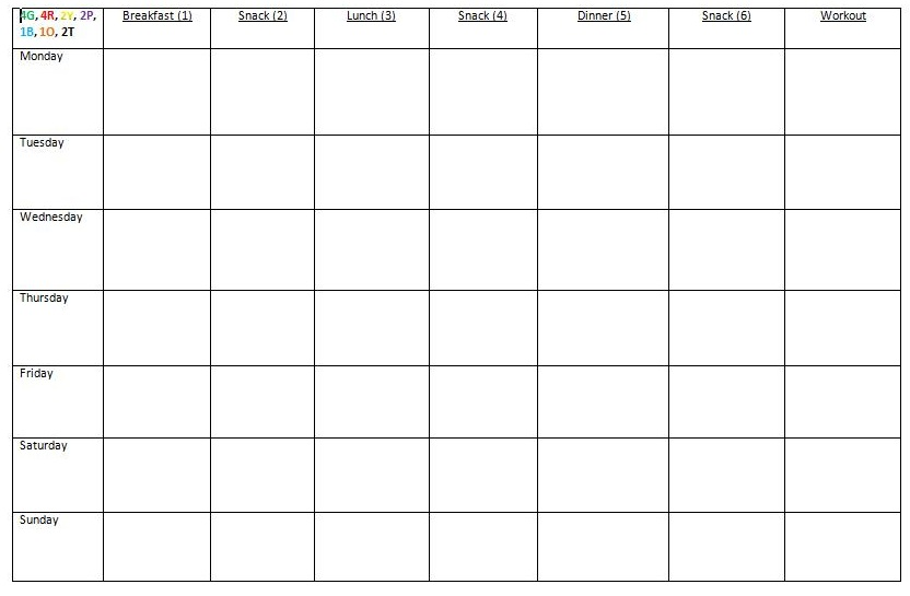 meal prep template